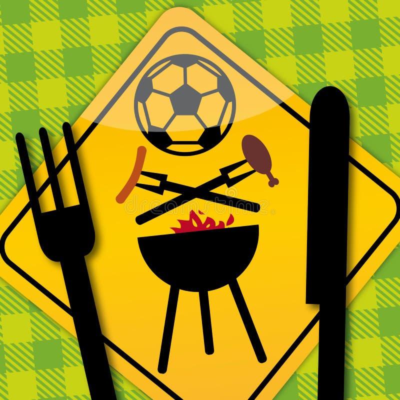 BBQ do futebol ilustração do vetor