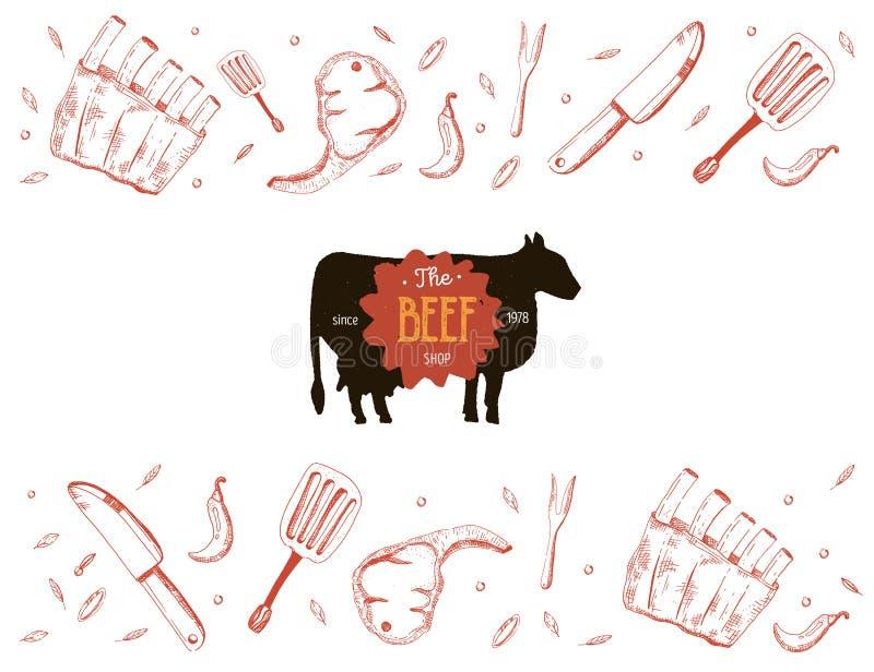 BBQ Doodle sztandar Nowo?ytny nakre?lenie Blackboard jedzenia menu wieprzowina mi?sa surowej Grill tapeta ilustracja wektor