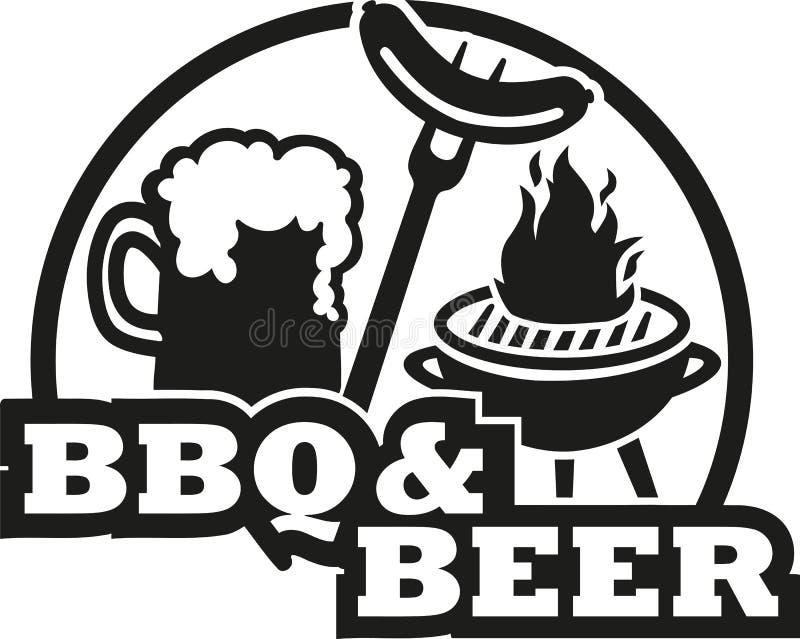 BBQ e birra con la griglia e la salsiccia illustrazione di stock
