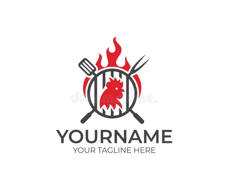 BBQ e galinha, galo, galo com molde do logotipo do fogo A carne da grade e da galinha com vetor da forquilha e da espátula projet ilustração do vetor