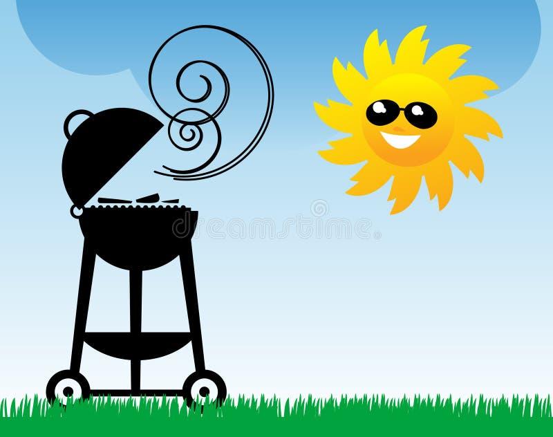 BBQ e Sun ilustração stock