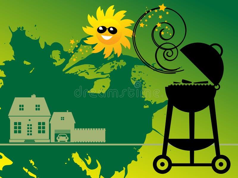 BBQ e Sun ilustração do vetor