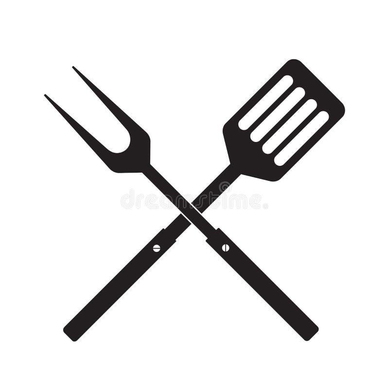 Bbq- eller gallerhjälpmedelsymbol Korsad grillfestgaffel med spateln vektor illustrationer