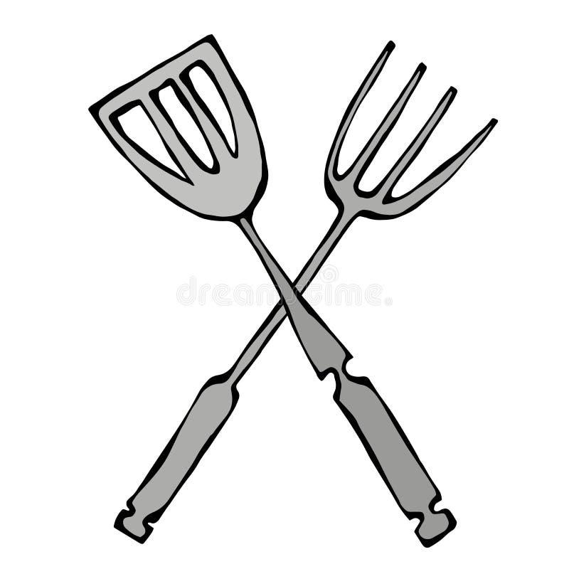Bbq- eller gallerhjälpmedelsymbol Korsad grillfestgaffel med spateln bakgrund isolerad white Realistisk hand D för klottertecknad stock illustrationer