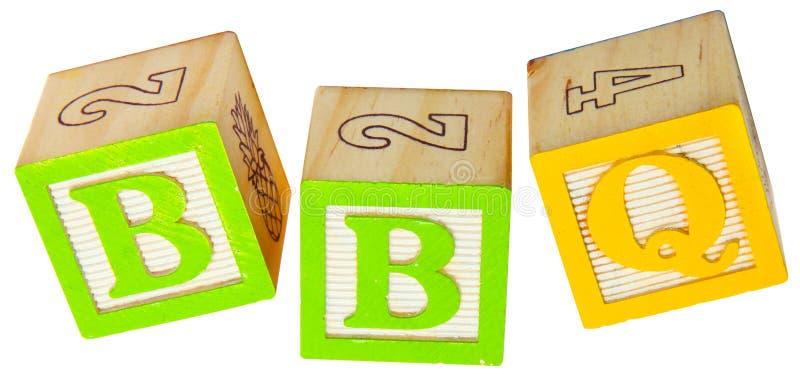BBQ em blocos do alfabeto fotografia de stock royalty free