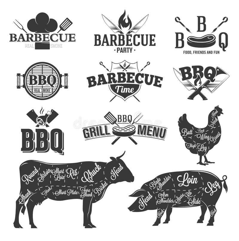 BBQ Emblems and Logos. For design vector illustration
