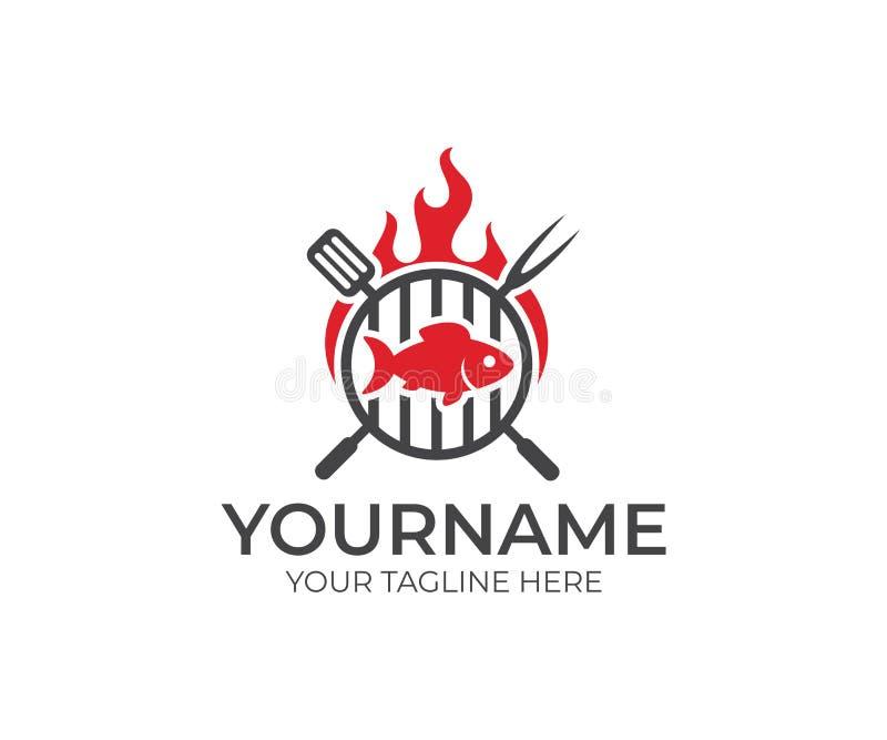 BBQ en vissen met het malplaatje van het brandembleem Grill en visvlees met vork en spatel vectorontwerp royalty-vrije illustratie