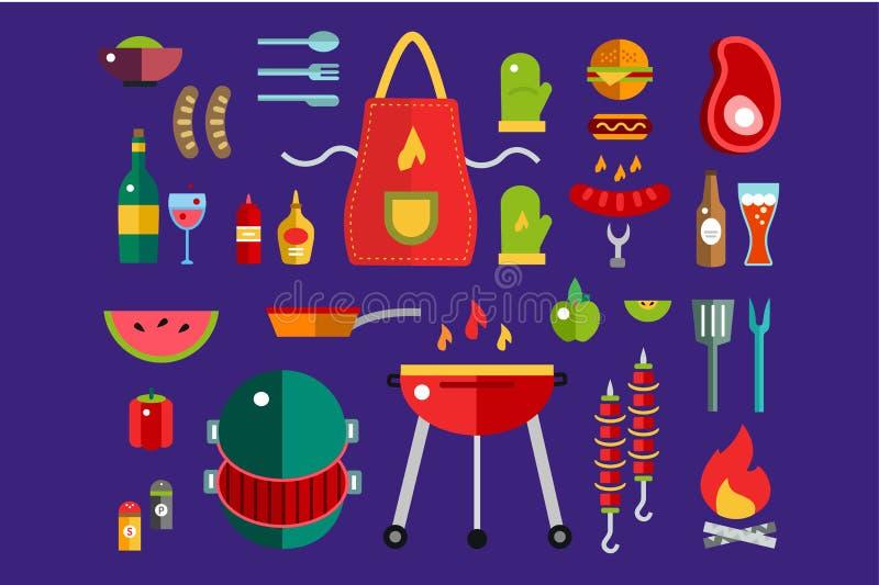 BBQ en Voedselpictogrammen Vectorreeks Openlucht, keuken vector illustratie