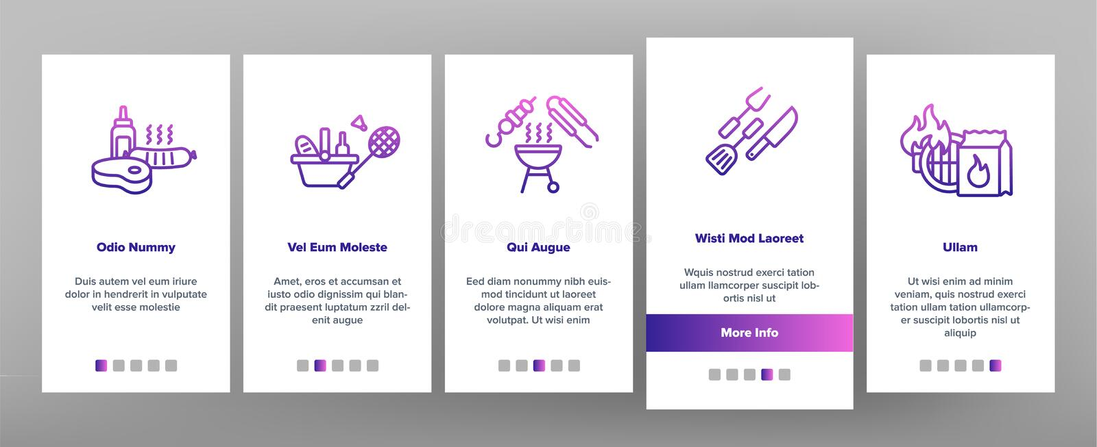 BBQ Equipment Vector Onboarding Mobile App Page Screen stock illustration