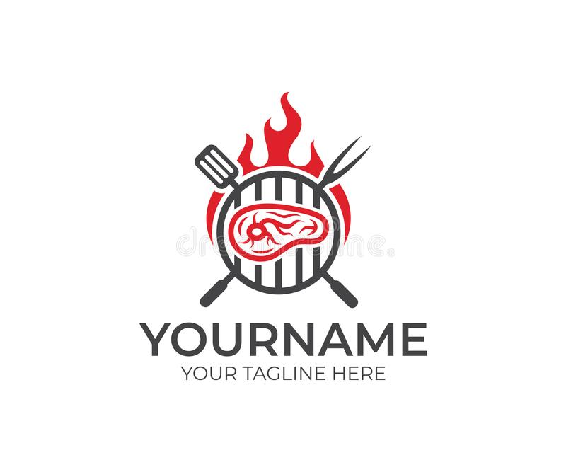 BBQ et bifteck avec le calibre de logo du feu Le gril et la viande avec le vecteur de fourchette et de spatule conçoivent illustration de vecteur