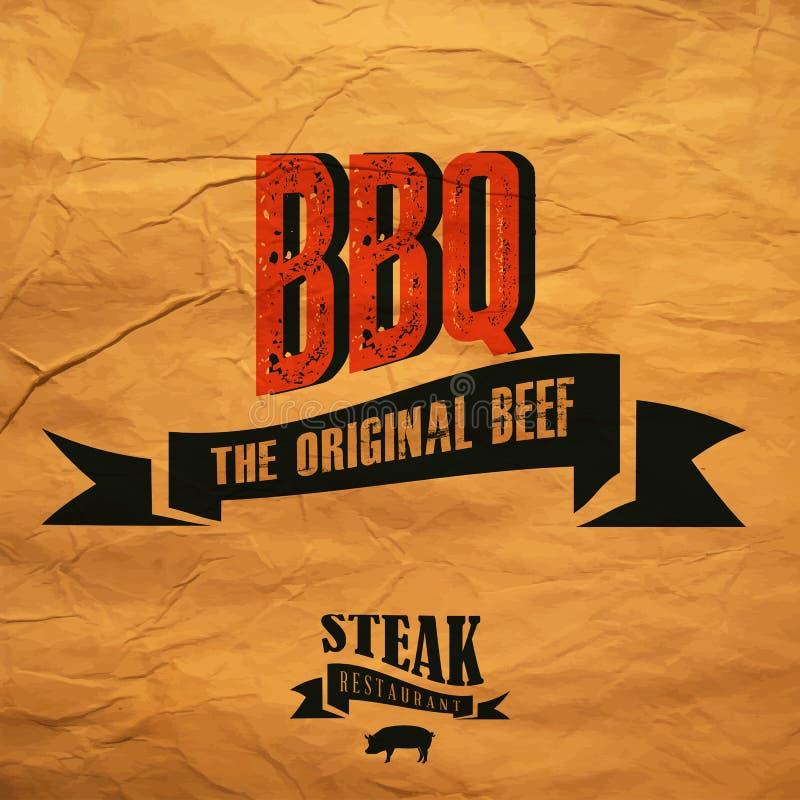 BBQ etykietka ilustracji