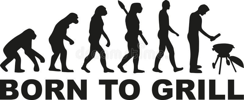 BBQ ewolucja z urodzonym piec na grillu ilustracja wektor