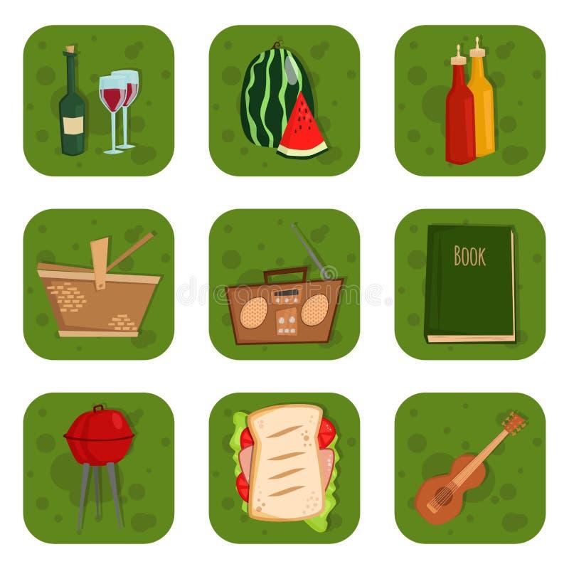 BBQ för grillfestpartiprodukter som grillar för familjtid för kök den utomhus- illustrationen för vektor för lunch för kokkonst royaltyfri illustrationer