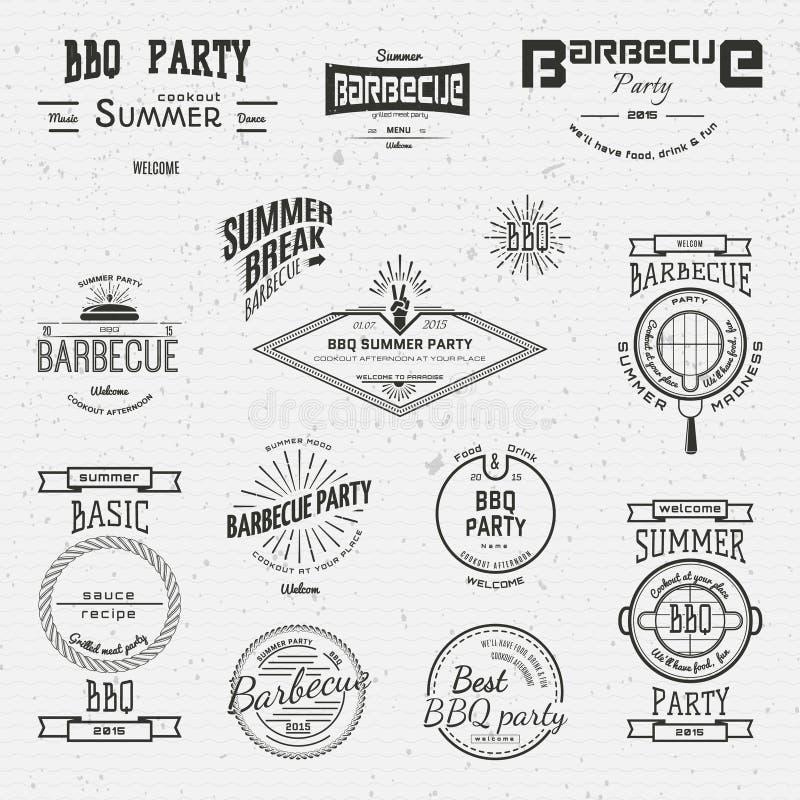 BBQ förser med märke logoer och etiketter för några bruk royaltyfri illustrationer