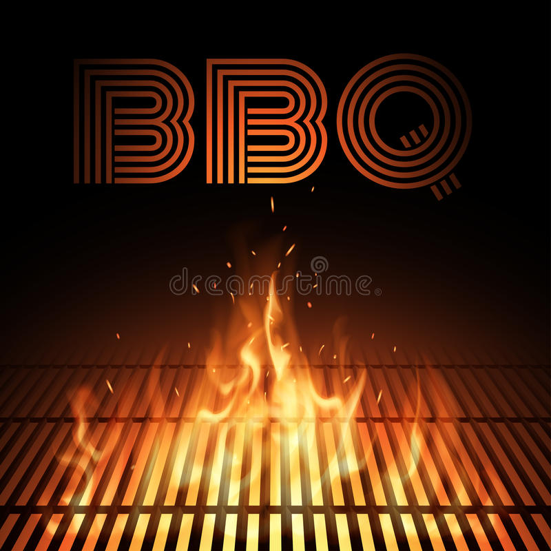 BBQ fire grille stock illustration