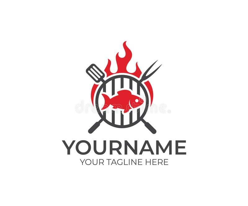 BBQ and fish with fire logo template. Grill and fish meat with fork and spatula vector design royalty free illustration