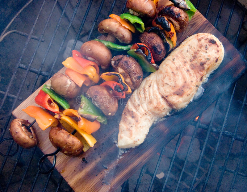 BBQ Fish Overhead View stock images