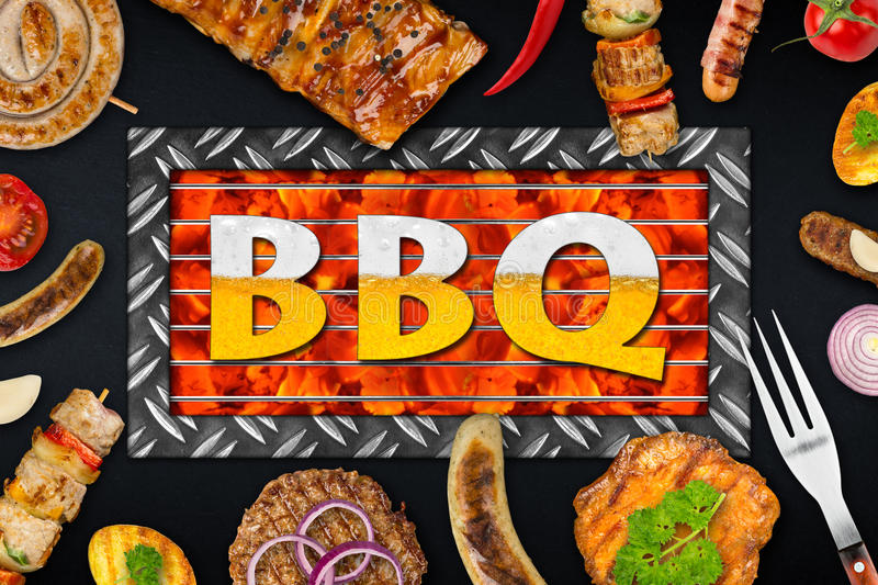 Bbq food. Bbq background with grilles food stock image