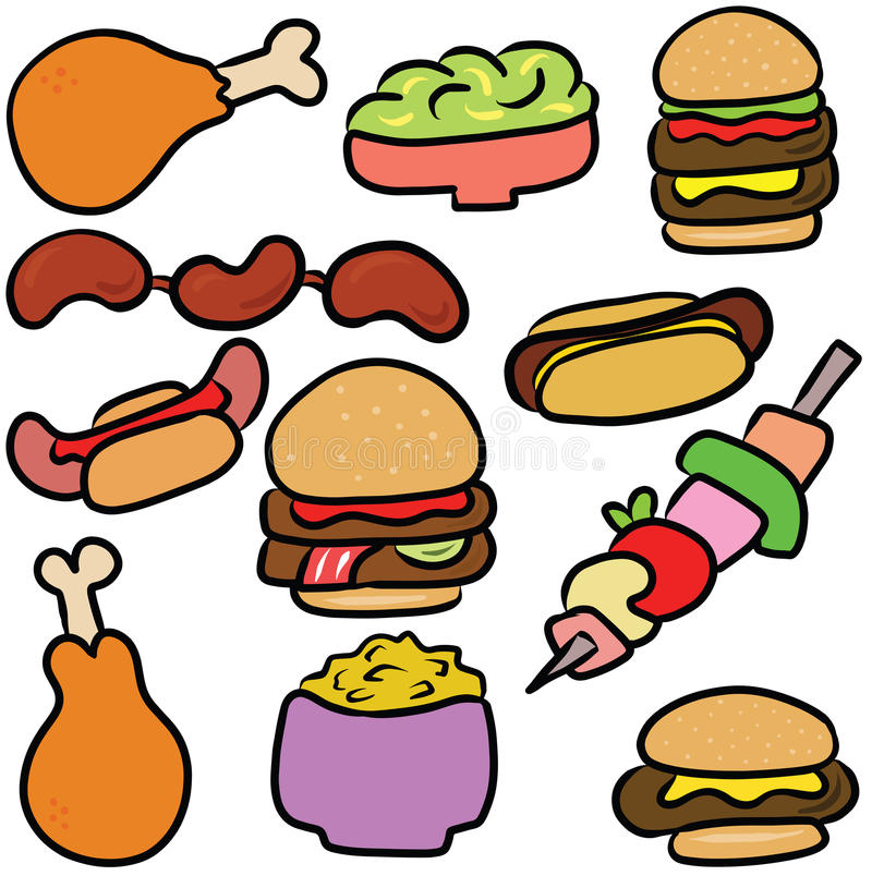BBQ Food Cartoon Vector Collection. Collection of BBQ Food Cartoon Vector stock illustration