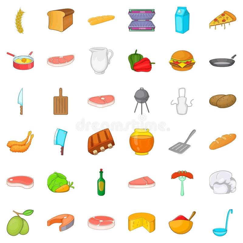 Bbq food icons set, cartoon style. Bbq food icons set. Cartoon style of 36 bbq food vector icons for web isolated on white background stock illustration