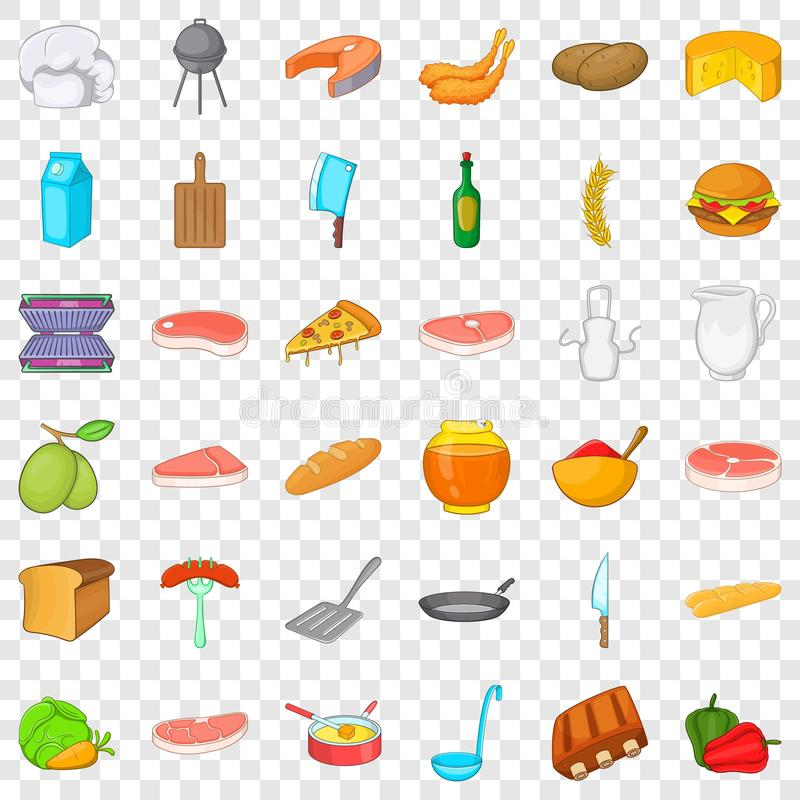 Bbq food icons set, cartoon style. Bbq food icons set. Cartoon style of 36 bbq food vector icons for web for any design vector illustration