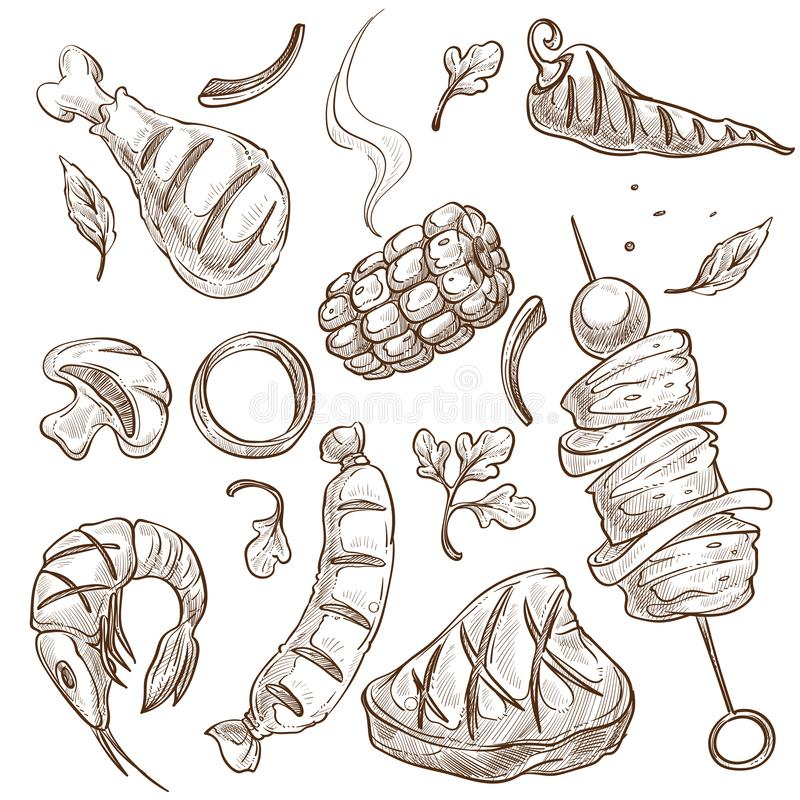 BBQ food meat and vegetables or seafood isolated sketches. Meat vegetable and seafood bbq food vector isolated sketches barbecue chicken and corn chili pepper vector illustration