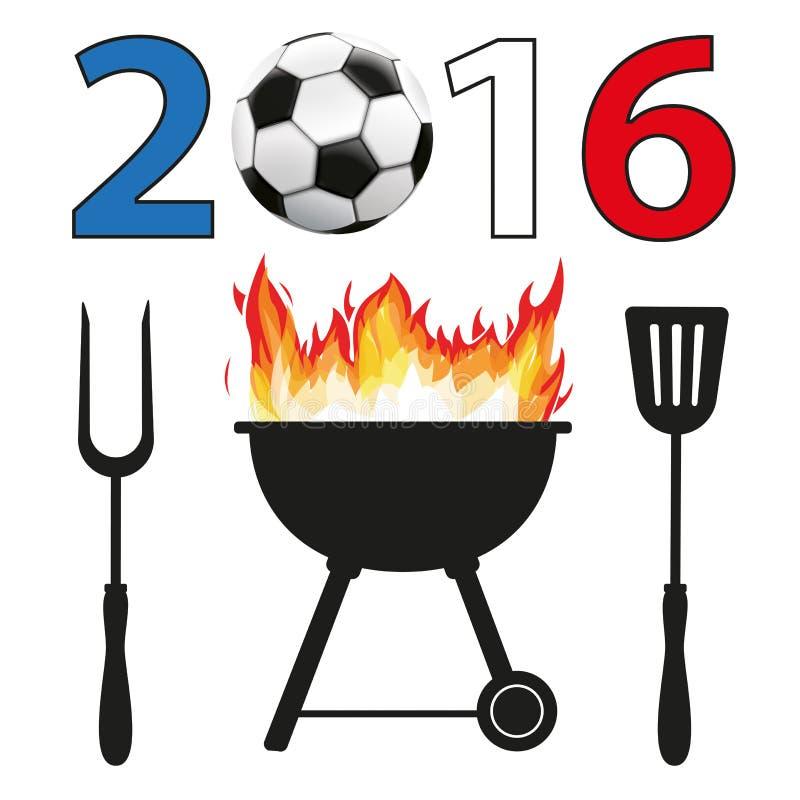 BBQ 2016 Futbolowy Francja ilustracji