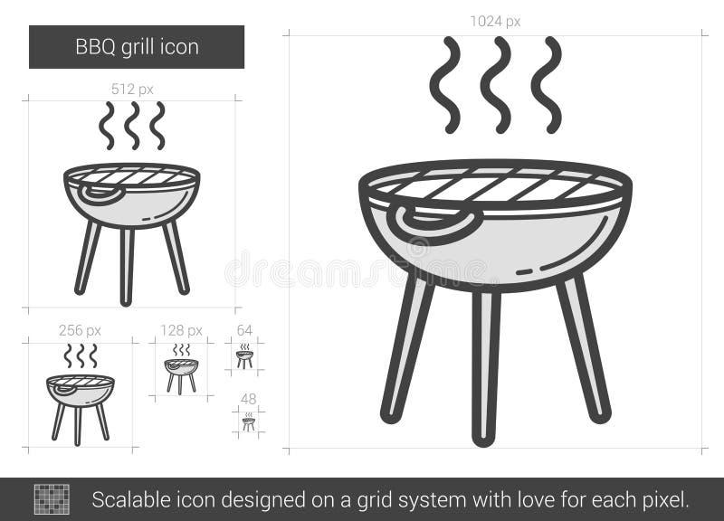 Bbq-gallerlinje symbol stock illustrationer