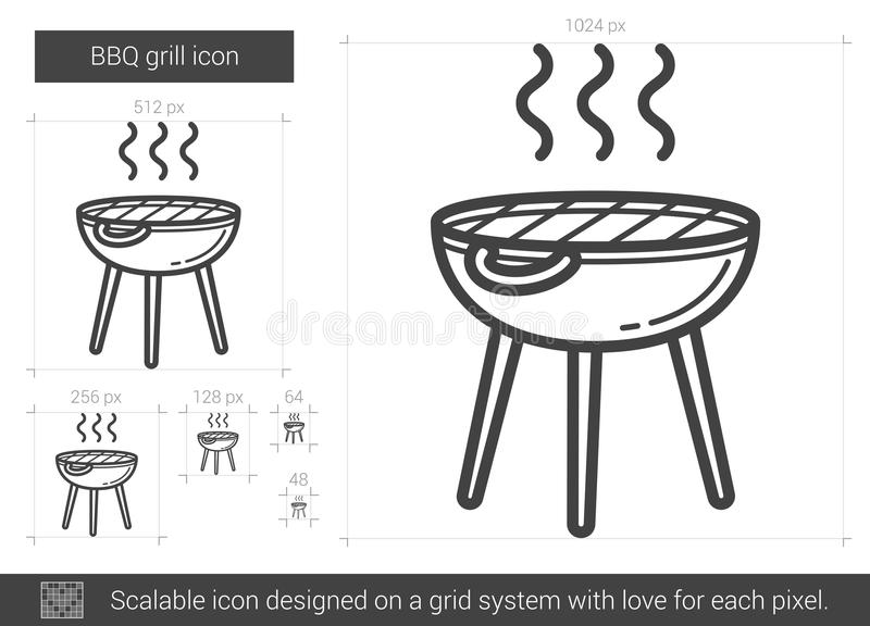 Bbq-gallerlinje symbol royaltyfri illustrationer