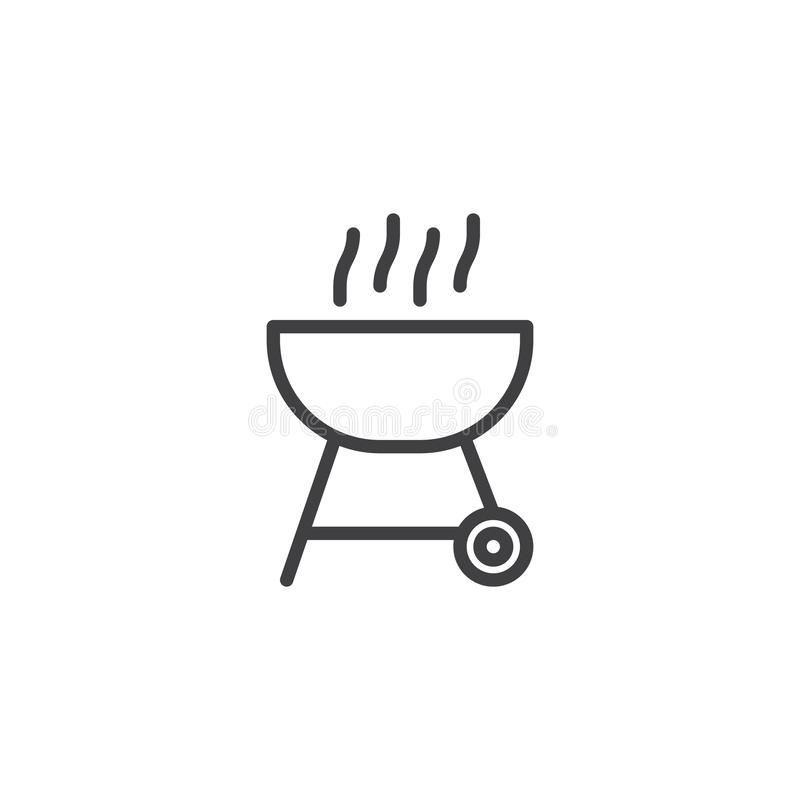Bbq-gallerlinje symbol stock illustrationer