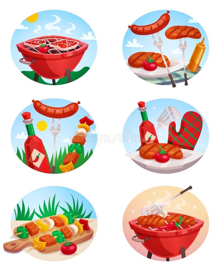 Bbq-gallerStickies uppsättning royaltyfri illustrationer