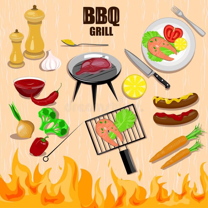 Bbq geplaatste grill decoratieve pictogrammen stock illustratie