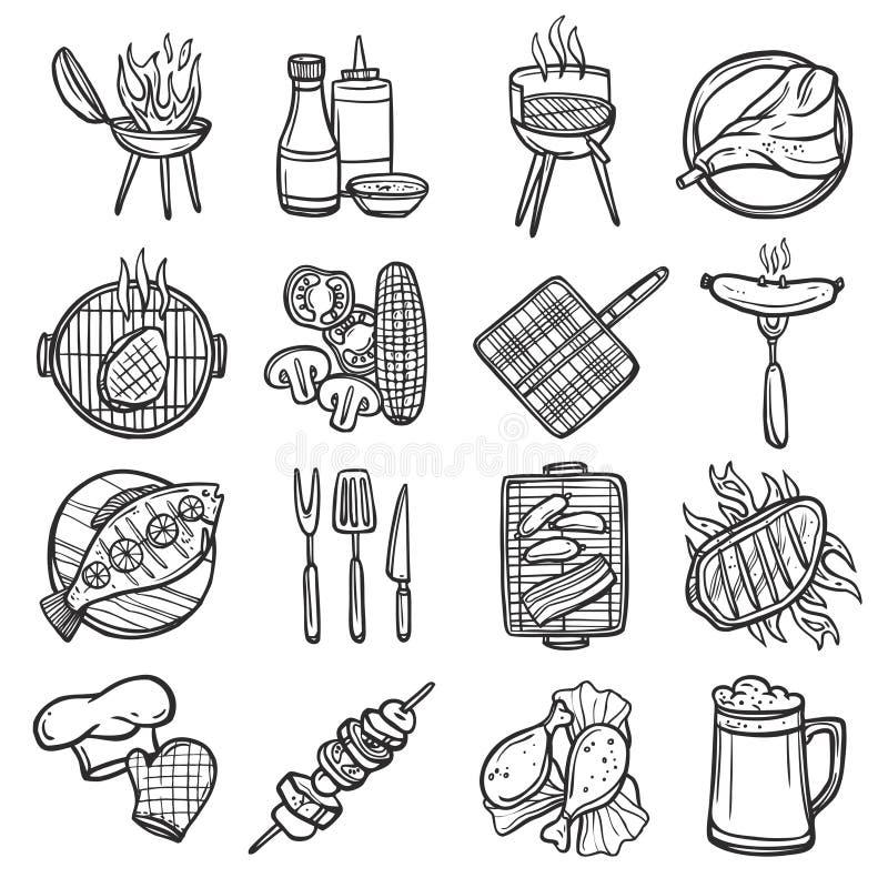 Bbq geplaatste grillpictogrammen vector illustratie