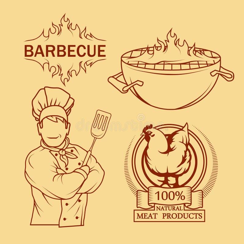 BBQ grill Ð ¡ ooking mięso na ogieniu ilustracja wektor
