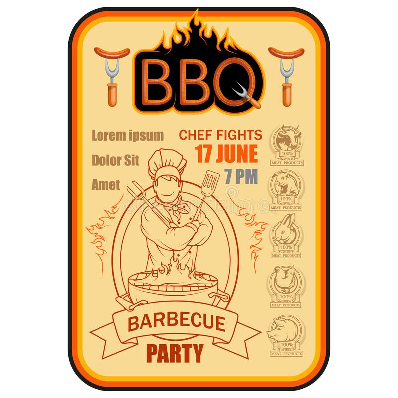 BBQ grill Ð ¡ ooking mięso na ogieniu royalty ilustracja