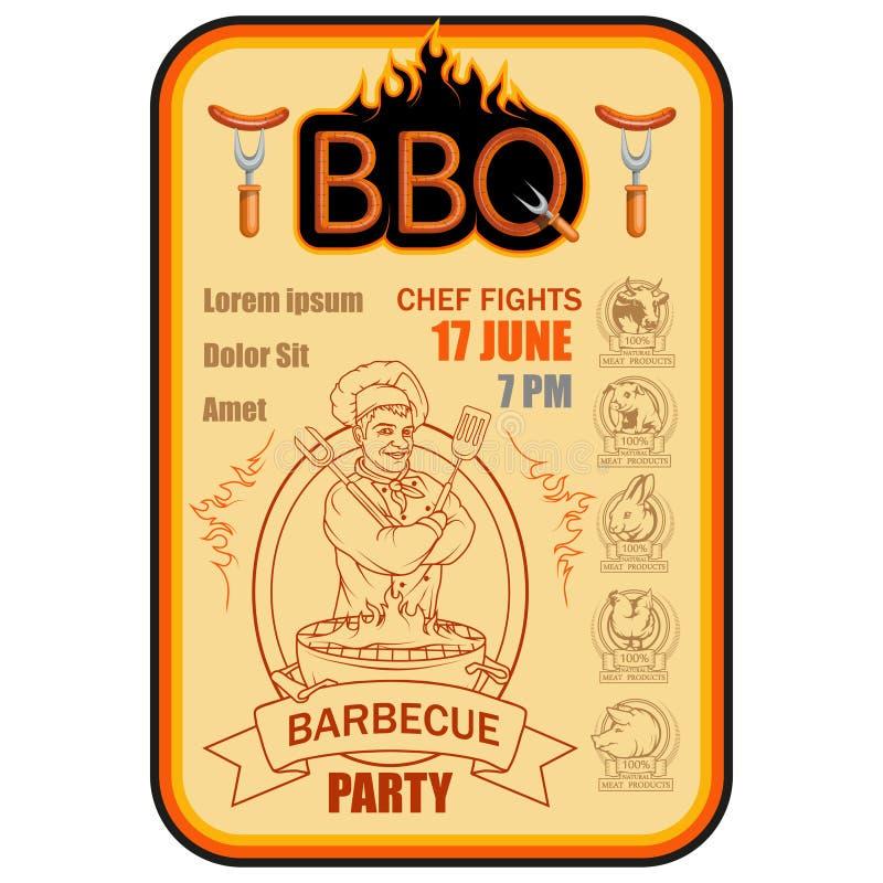 BBQ grill Ð ¡ ooking mięso na ogieniu ilustracji