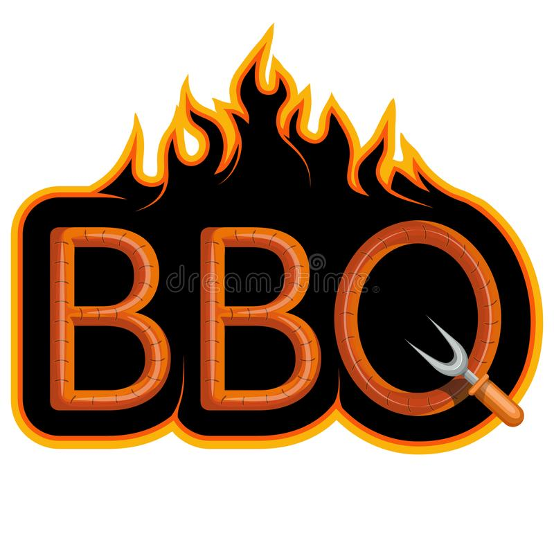 BBQ Grill. Сooking meat on fire. royalty free illustration