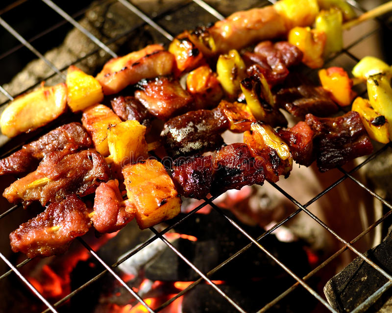 BBQ grill. With hot flames royalty free stock photos