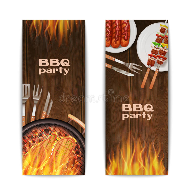 Bbq Grill Banners stock illustration