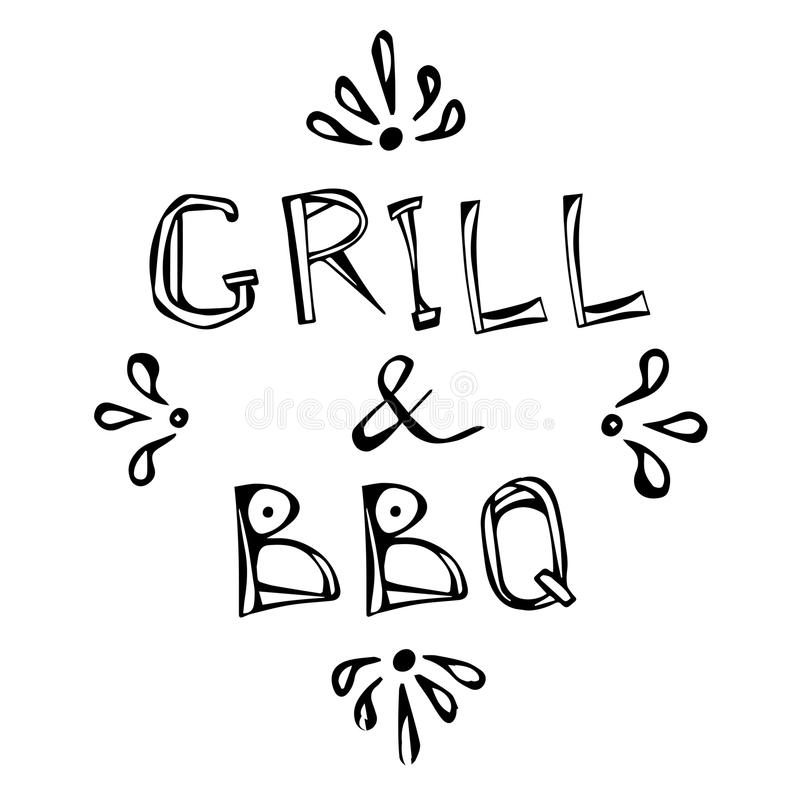 BBQ and Grill Decorative Meat Lettering. Realistic Doodle Cartoon Style Hand Drawn Sketch Vector Illustration.Isolated. BBQ and Grill Decorative Meat Lettering stock illustration