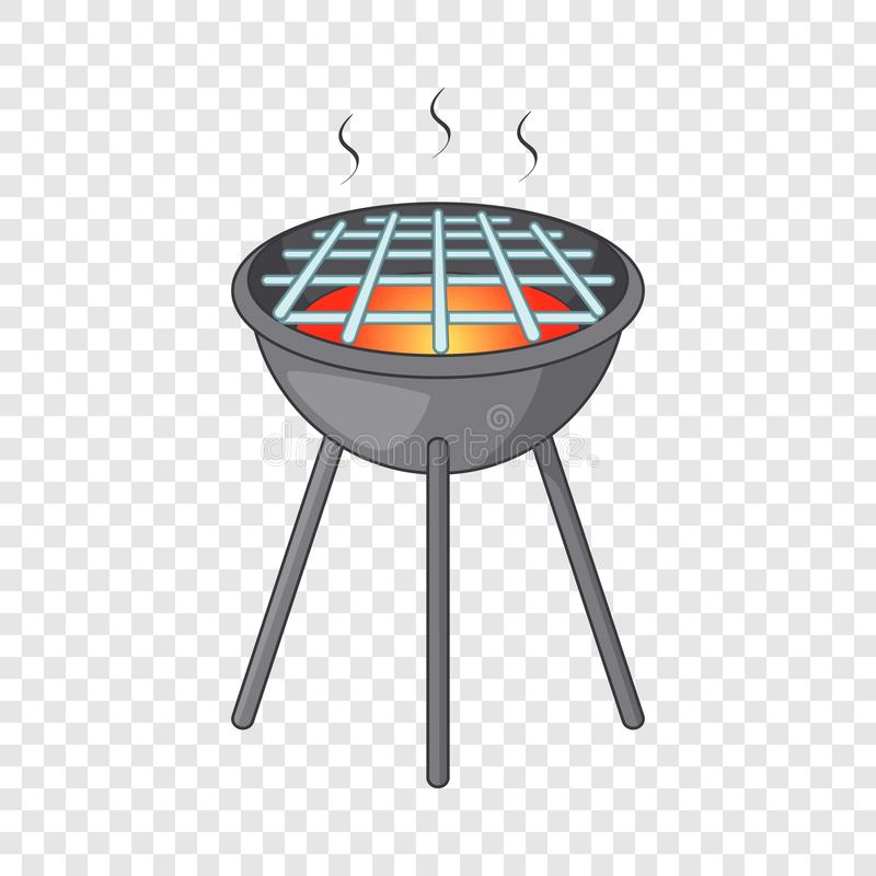 BBQ grill with fire icon, cartoon style. BBQ grill with fire icon. Cartoon illustration of BBQ grill with fire vector icon for web royalty free illustration