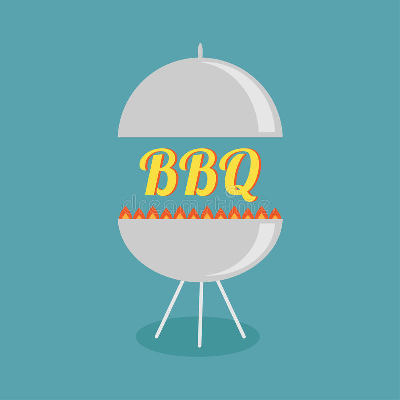 BBQ grill with fire party invitation card. Flat design icon. stock illustration