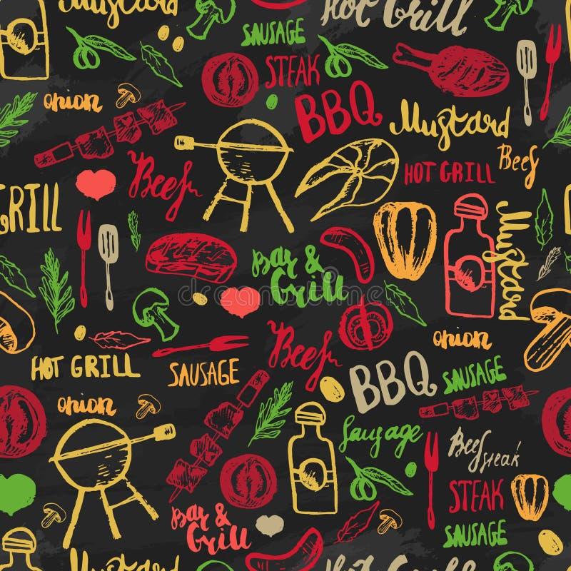 Bbq-Grill-Grill-Skizzen-nahtloses Muster Buntes BBQ-Design für die Verpackung, Fahnen, Förderung vektor abbildung