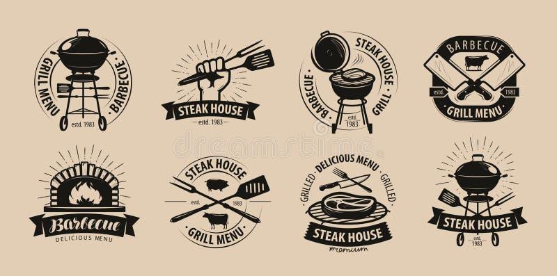 BBQ, grill, grilla logo lub ikony, Etykietki dla menu restauracja lub kawiarnia również zwrócić corel ilustracji wektora ilustracja wektor