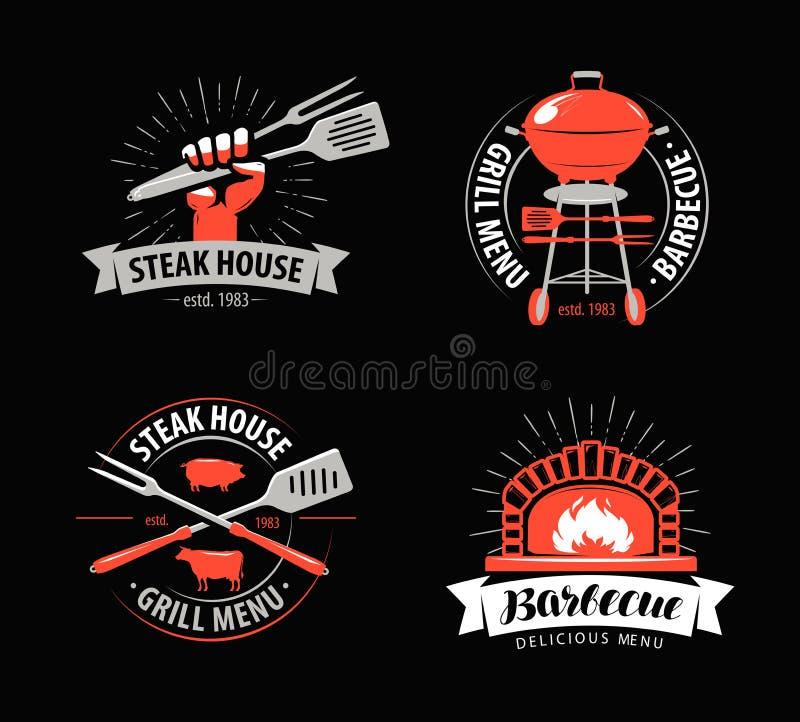 BBQ, grill, grilla logo lub symbol, Etykietki dla menu restauracja lub kawiarnia również zwrócić corel ilustracji wektora royalty ilustracja