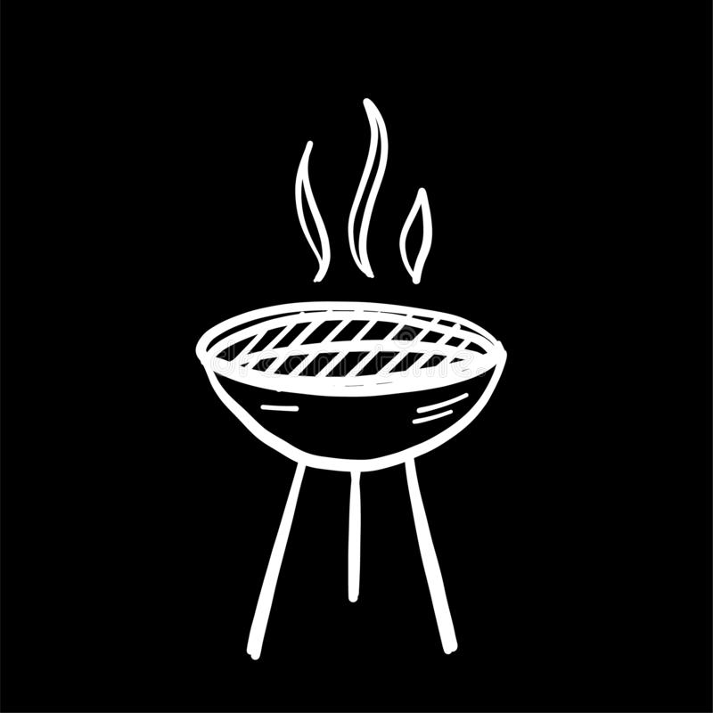BBQ grill hand drawn cartoon icon vector illustration. Isolated on black background stock illustration