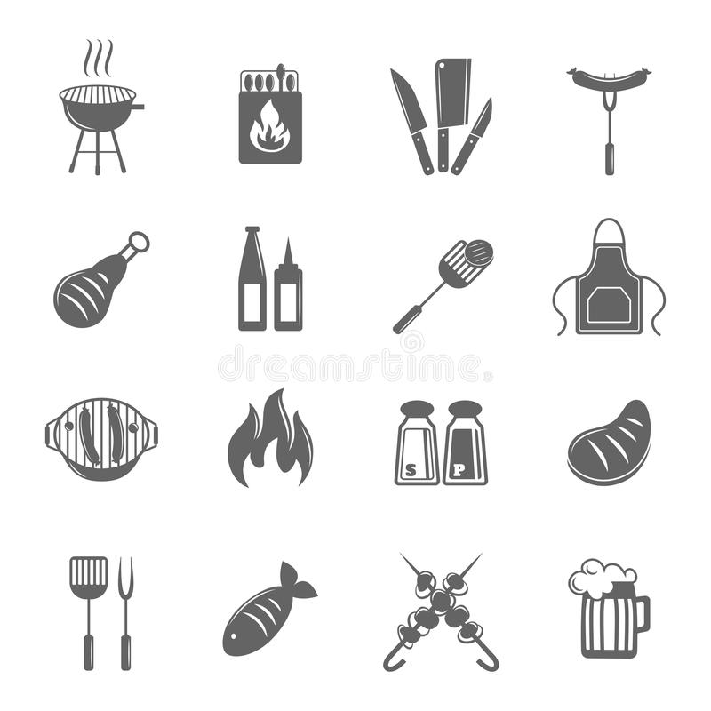 Bbq grill icons set. Fish and meat bbq food fire outdoor party icons set isolated vector illustration