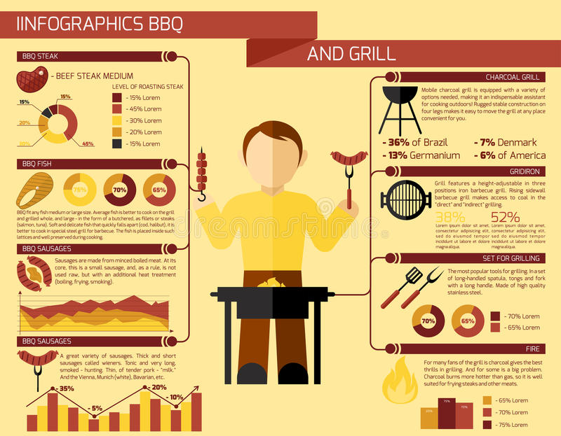 Bbq grill Infographics royalty ilustracja