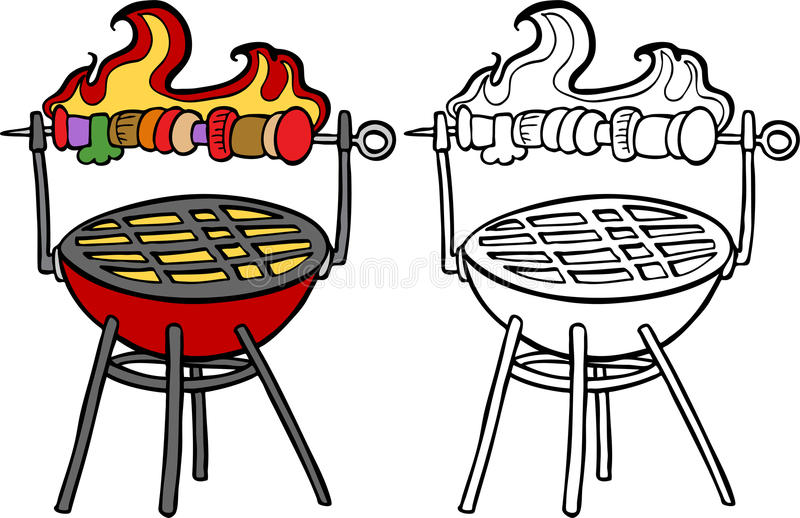 BBQ Grill with Kabob stock illustration