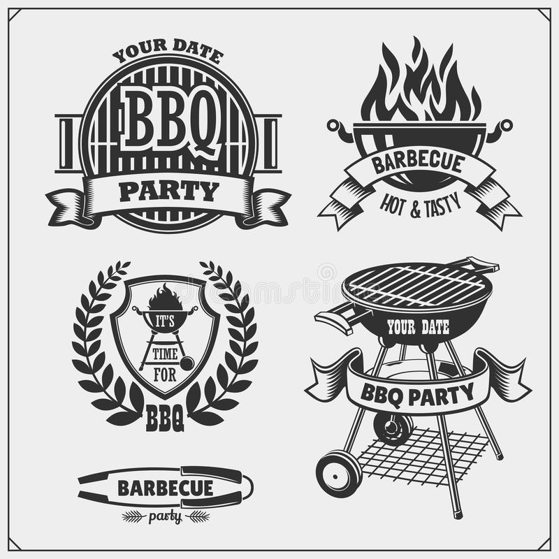BBQ and grill labels set. Barbecue emblems, badges and design elements. Vector monochrome illustration vector illustration